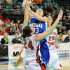 Illinois State defender Emily Hanley (24) draws the charging call against Indiana State Anna Munn (33) during the first half of their second round MVC tournament game.  At halftime Indiana State was leading Illinois State 38-19.