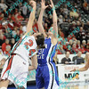 Illinois State Emily Hanley (24) and Indiana State Kelsie Cooley (31) both reach up to pull down a rebound in the first half of their second round MVC tournament game.  At halftime Indiana State was leading Illinois State 38-19.