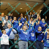 The Indiana State fans celebrate the teams big win against Illinois State in the second round of the MVC tournament.