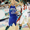 Indiana State Deja Mattox (13) looks for a pass against the defense of Illinois State Hannah Spanich (34) late int the second half of their second round MVC tournament game.  Indiana State defeated Illinois State 80-51.