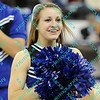 An Indiana State cheerleader shows of a big smile as her team was leading going int halftime of the opening round MVC championship tournament.