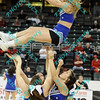 Indiana State cheerleaders performs during the first half of an opening round MVC tournament game.