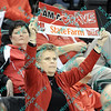 A Bradley fan proudly displays her support for the Bradley Braves during the first half of the MVC opening tournament game.