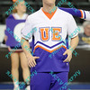 An Evansville Purple Ace cheerleader performs during a time out of the opening round MVC tournament game.