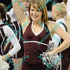 A member of the Missouri State dance line performs during a time out early in the semifinal MVC tournament game.