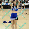 An Indiana State cheerleader performs during the first half of the semifinal MVC tournament game.