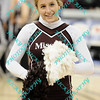 A Missouri State cheerleader performs early in the semifinal MVC tournament game attempting to get the fans excited.