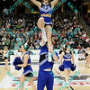 Indiana State cheerleaders perform during the first half of the semifinal MVC tournament game.