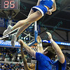 The St. Louis Saintsation cheerleaders perform during a conference game  between St. Louis University Billikens and Dayton Flyers played in St. Louis, MO. at Chaifetz Arena.  Where Dayton defeated St. Louis