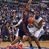 St. Louis Billiken forward MILIK YARBROUGH (4) gets blocked out by Dayton Flyers forward KENDALL POLLARD (25) during a conference game  between St. Louis University Billikens and Dayton Flyers played in St. Louis, MO. at Chaifetz Arena.  Where Dayton defeated St. Louis