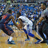 St. Louis Billiken guard ASH YACOUBOU (3) tries to go around Dayton Flyers guard JORDAN SIBERT (24) during a conference game  between St. Louis University Billikens and Dayton Flyers played in St. Louis, MO. at Chaifetz Arena.  Where Dayton defeated St. Louis