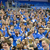 Fans in the student section during a conference game  between St. Louis University Billikens and Dayton Flyers played in St. Louis, MO. at Chaifetz Arena.  Where Dayton defeated St. Louis