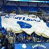 Fans in the student section raise a 6th player banner during a conference game  between St. Louis University Billikens and Dayton Flyers played in St. Louis, MO. at Chaifetz Arena.  Where Dayton defeated St. Louis