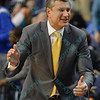 LaSalle Explorers head coach DR. JOHN GIANNINI reacts with glee after a missed shot by St. Louis sends the game into overtime during a conference game  between St. Louis University Billikens and La Salle Explorers played in St. Louis, MO. at Chaifetz Arena.  Where St. Louis defeated La Salle 68-64 in OT.