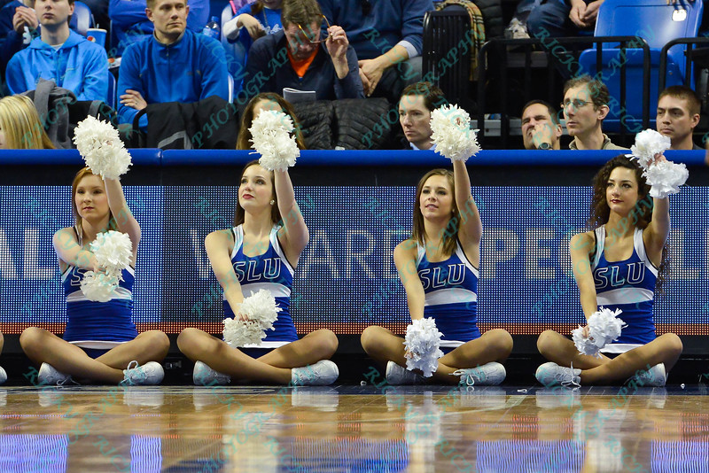 The Saint Louis Saintsation cheerleaders perfrom during a conference game  between St. Louis University Billikens and La Salle Explorers played in St. Louis, MO. at Chaifetz Arena.  Where St. Louis defeated La Salle 68--64 in OT.
