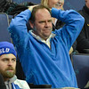 A fan doesn't like the call on the court during a conference game  between St. Louis University Billikens and La Salle Explorers played in St. Louis, MO. at Chaifetz Arena.  Where St. Louis defeated La Salle 68-64 in OT.