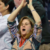 A St. Louis fan celebrates the victory during a conference game  between St. Louis University Billikens and La Salle Explorers played in St. Louis, MO. at Chaifetz Arena.  Where St. Louis defeated La Salle 68-64 in OT.