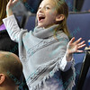 A young fan dances during the dance cam at a conference game  between St. Louis University Billikens and La Salle Explorers played in St. Louis, MO. at Chaifetz Arena.  Where St. Louis defeated La Salle 68--64 in OT.
