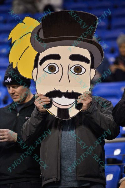 A fan from La Salle holds up an explorer fat head during a conference game  between St. Louis University Billikens and La Salle Explorers played in St. Louis, MO. at Chaifetz Arena.  Where St. Louis defeated La Salle 68--64 in OT.