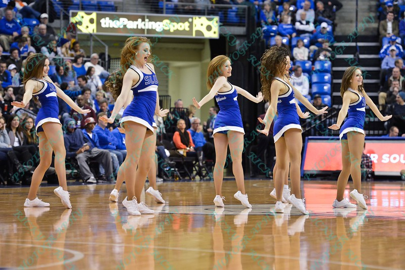 The St. Louis Saintsations perform during a conference game  between St. Louis University Billikens and La Salle Explorers played in St. Louis, MO. at Chaifetz Arena.  Where St. Louis defeated La Salle 68-64 in OT.