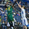 George Mason Patriots center SHEVON THOMPSON (14) gets inside of St. Louis Billiken center AUSTIN GILLMANN (25) for a reverse layup during a conference game  between St. Louis University Billikens and George Mason Patriots played in St. Louis, MO. at Chaifetz Arena.  Where George Mason defeated St. Louis 78-50