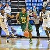 George Mason Patriots guard MARQUISE MOORE (22) starts a breakaway down court during a conference game  between St. Louis University Billikens and George Mason Patriots played in St. Louis, MO. at Chaifetz Arena.  Where George Mason defeated St. Louis 78-50