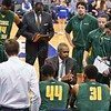 George Mason Patriots head coach PAUL HEWITT talks to his team during a time out during a conference game  between St. Louis University Billikens and George Mason Patriots played in St. Louis, MO. at Chaifetz Arena.  Where George Mason defeated St. Louis 78-50