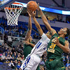 St. Louis Billiken guard MILES REYNOLDS (11) gets his shot blocked by George Mason Patriots forward JALEN JENKINS (31) and George Mason Patriots guard COREY EDWARDS (13) during a conference game  between St. Louis University Billikens and George Mason Patriots played in St. Louis, MO. at Chaifetz Arena.  Where George Mason defeated St. Louis 78-50