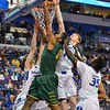 George Mason Patriots forward JALEN JENKINS (31) makes a layup basket despite the tight defense of St. Louis Billiken forward REGGIE AGBEKO (35), St. Louis Billiken forward BRETT JOLLY (14) and St. Louis Billiken guard/forward MIKE CRAWFORD (32) during a conference game  between St. Louis University Billikens and George Mason Patriots played in St. Louis, MO. at Chaifetz Arena.  Where George Mason defeated St. Louis 78-50