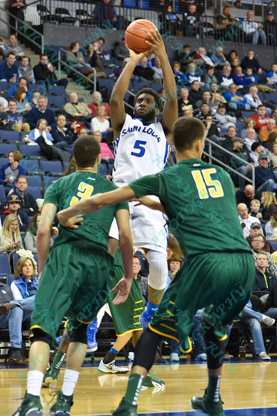 St. Louis Billiken guard ASH YACOUBOU (3) pulls up and takes a jumpshot during a conference game  between St. Louis University Billikens and George Mason Patriots played in St. Louis, MO. at Chaifetz Arena.  Where George Mason defeated St. Louis 78-50