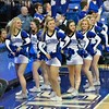 The St. Louis Saintsation cheerleaders perform during a conference game  between St. Louis University Billikens and George Mason Patriots played in St. Louis, MO. at Chaifetz Arena.  Where George Mason defeated St. Louis 78-50