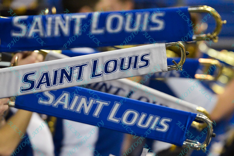 Trombones are lined in support of St. Louis during a conference game  between St. Louis University Billikens and George Mason Patriots played in St. Louis, MO. at Chaifetz Arena.  Where George Mason defeated St. Louis 78-50