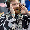 A fan can't believe what he sees while wearing a cow costume during a conference game  between St. Louis University Billikens and George Mason Patriots played in St. Louis, MO. at Chaifetz Arena.  Where George Mason defeated St. Louis 78-50
