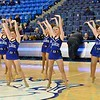 The St. Louis Saintsation cheerleaders perform before the game during a conference game  between St. Louis University Billikens and George Mason Patriots played in St. Louis, MO. at Chaifetz Arena.  Where George Mason defeated St. Louis 78-50