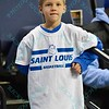 A young fan shows his support for the Billikens during a conference game  between St. Louis University Billikens and George Mason Patriots played in St. Louis, MO. at Chaifetz Arena.  Where George Mason defeated St. Louis