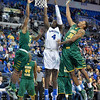 St. Louis Billiken forward MILIK YARBROUGH (4) gets his layup attempted stuffed out by George Mason Patriots guard MARQUISE MOORE (22) and George Mason Patriots forward JALEN JENKINS (31) during a conference game  between St. Louis University Billikens and George Mason Patriots played in St. Louis, MO. at Chaifetz Arena.  Where George Mason defeated St. Louis 78-50