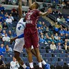 St. Joseph's Hawks forward ISSIAH MILES (15) gets up hight to block the attempted hook shot of St. Louis Billiken forward MILIK YARBROUGH (4) during a conference game  between St. Louis University Billikens and St. Joseph's Hawks played in St. Louis, MO. at Chaifetz Arena.  Where St. Louis defeats St. Joseph 68-61