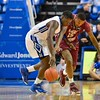 St. Louis Billiken forward MILIK YARBROUGH (4) and St. Joseph's Hawks forward ISSIAH MILES (15) battle for a loose ball during a conference game  between St. Louis University Billikens and St. Joseph's Hawks played in St. Louis, MO. at Chaifetz Arena.  Where St. Louis defeats St. Joseph 68-61