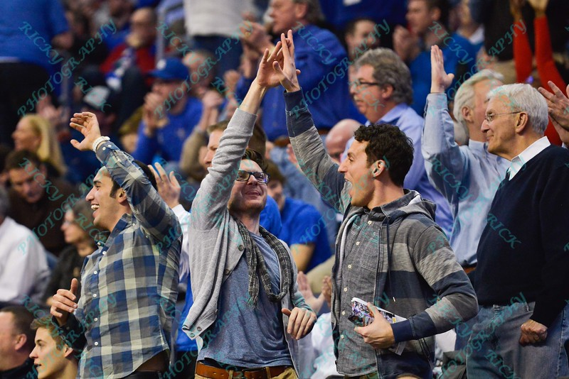 Fans celebrate a big play on the court during a conference game  between St. Louis University Billikens and St. Joseph's Hawks played in St. Louis, MO. at Chaifetz Arena.  Where St. Louis defeats St. Joseph 68-61