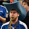 One of the band members shows his country side with an oversized cowboy hat during a conference game  between St. Louis University Billikens and St. Joseph's Hawks played in St. Louis, MO. at Chaifetz Arena.  Where St. Louis defeats St. Joseph 68-61