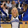 One of the St. Louis Saintsation cheerleaders performs during a conference game  between St. Louis University Billikens and St. Joseph's Hawks played in St. Louis, MO. at Chaifetz Arena.  Where St. Louis defeats St. Joseph 68-61