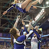 The St. Louis Saintsation cheerleaders perform a basket catch during a conference game  between St. Louis University Billikens and St. Joseph's Hawks played in St. Louis, MO. at Chaifetz Arena.  Where St. Louis defeats St. Joseph 68-61