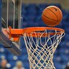 The basketball bounces off the rim during warmups of a conference game  between St. Louis University Billikens and St. Joseph's Hawks played in St. Louis, MO. at Chaifetz Arena.  Where St. Louis defeats St. Joseph 68-61