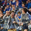 Fans celebrate a big play during a conference game  between St. Louis University Billikens and St. Joseph's Hawks played in St. Louis, MO. at Chaifetz Arena.  Where St. Louis defeats St. Joseph 68-61