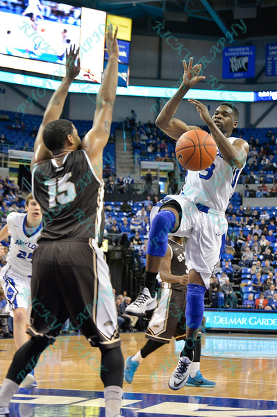 St. Louis Billiken guard ASH YACOUBOU (3) gets the ball knocked out of his hands on the way to the basket during a conference game  between St. Louis University Billikens and St. Bonaventure Bonnies played in St. Louis, MO. at Chaifetz Arena.  Where St. Bonaventure defeated St. Louis 64-48.