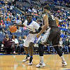 St. Louis Billiken forward REGGIE AGBEKO (35) attempts to get past the defense of St. Bonaventure Bonnies forward/center CHRIS DEES (15) during a conference game  between St. Louis University Billikens and St. Bonaventure Bonnies played in St. Louis, MO. at Chaifetz Arena.  Where St. Bonaventure defeated St. Louis 64-48.