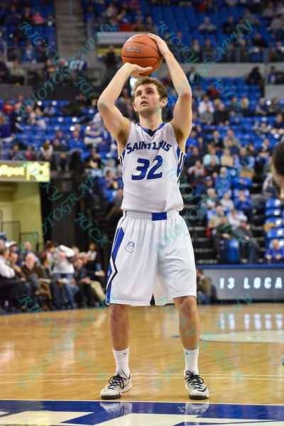 St. Louis Billiken guard/forward MIKE CRAWFORD (32) takes a free throw shot during a conference game  between St. Louis University Billikens and St. Bonaventure Bonnies played in St. Louis, MO. at Chaifetz Arena.  Where St. Bonaventure defeated St. Louis 64-48.