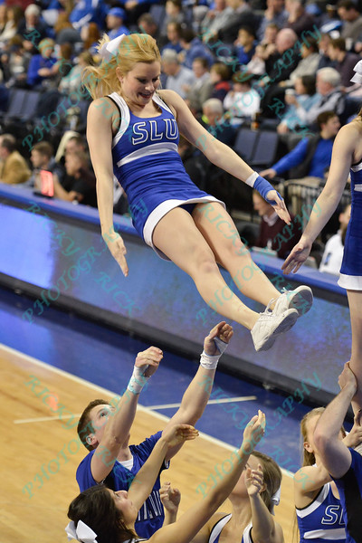 The St. Louis Saintsation cheerleaders perform during a conference game  between St. Louis University Billikens and St. Bonaventure Bonnies played in St. Louis, MO. at Chaifetz Arena.  Where St. Bonaventure defeated St. Louis 64-48.