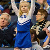 A young fan shows her support by dressing in a SLU cheerleading outfit during a conference game  between St. Louis University Billikens and St. Bonaventure Bonnies played in St. Louis, MO. at Chaifetz Arena.  Where St. Bonaventure defeated St. Louis 64-48.