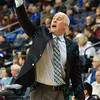 St. Bonaventure Bonnies head coach MARK SCHMIDT  motions a play to his team during a conference game  between St. Louis University Billikens and St. Bonaventure Bonnies played in St. Louis, MO. at Chaifetz Arena.  Where St. Bonaventure defeated St. Louis 64-48.